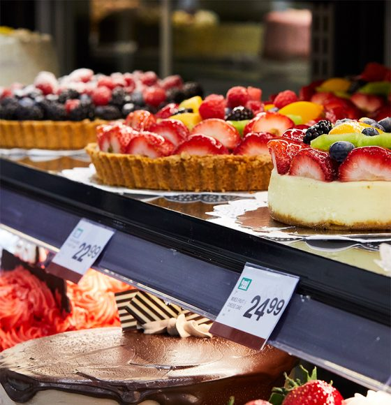 Fruit pies, cheesecake, and assorted freshly baked cakes in the bakery