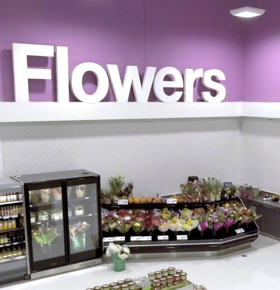 Fresh varieties of flowers and bouquets in the flowers department