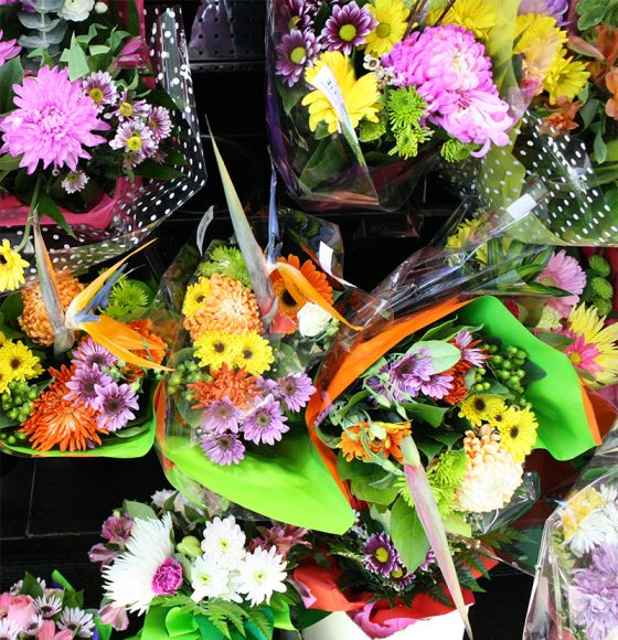 Beautiful and colourful bouquets of flowers in the flower department