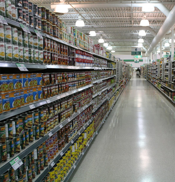 Fully stocked international food supermarket aisle