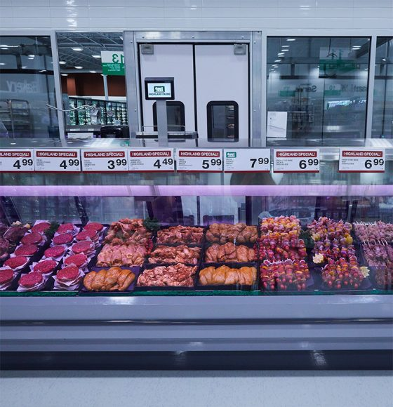 Fresh beef, pork, sausauges, barbecue skewers and more fresh AAA grade meat in the meat counter