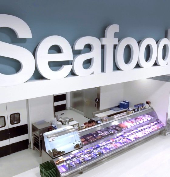 fresh seafood section in highland farms