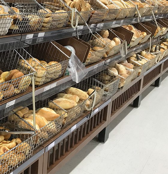 Assorted varieties of freshly baked in-store breads