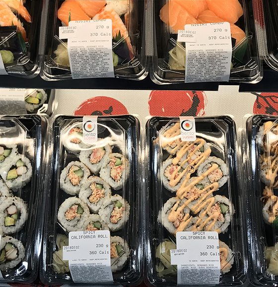 Pre-rolled fresh spicy california rolls and nigiri combos from bento sushi