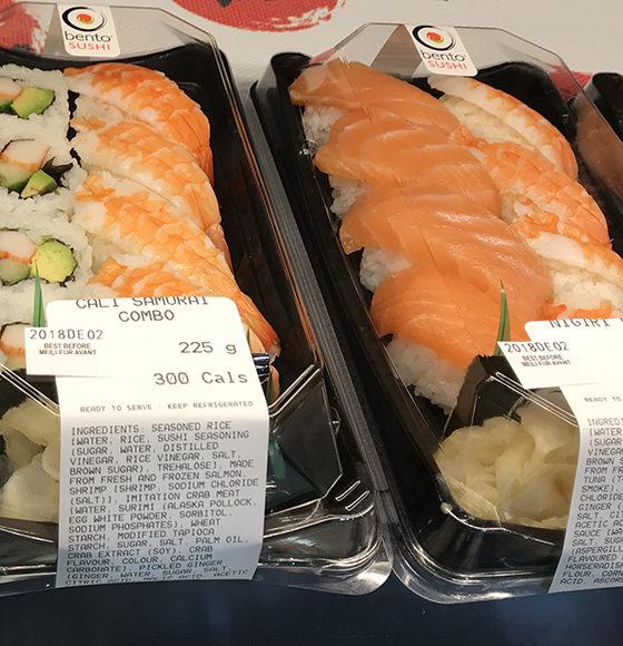 Pre-rolled fresh cali samurai combo and nigiri combo from bento sushi