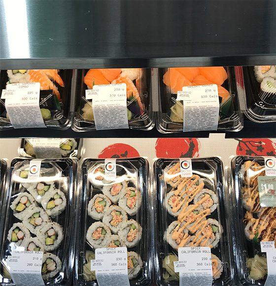 Bento Sushi pre-rolled fresh sushi in the sushi counter