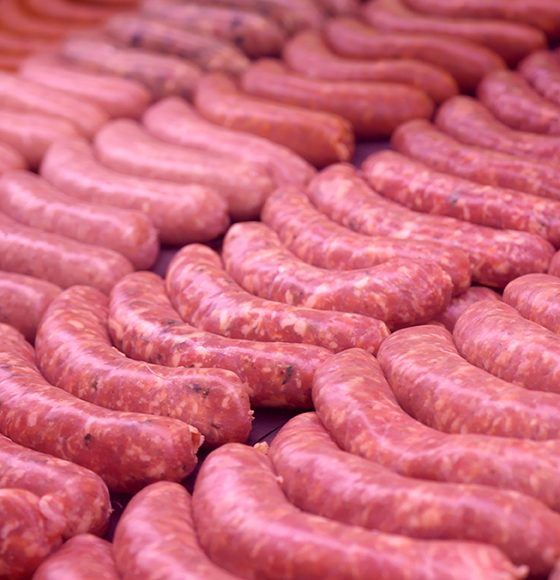freshly made in-store sausages in the meat counter